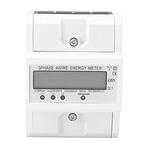 Stromzähler, dreiphasig Vieradriger Digital LCD 3 X 20 (80A) Stromzähler DIN-Schiene Energiezähler