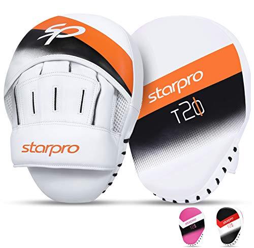 Starpro T20 Manoplas Boxeo curvadas de Cuero sintético - Almohadillas para Entrenamiento de Boxeo MMA Kickboxing Artes Marciales Muay Thai y Entrenamiento - Multiples Colores