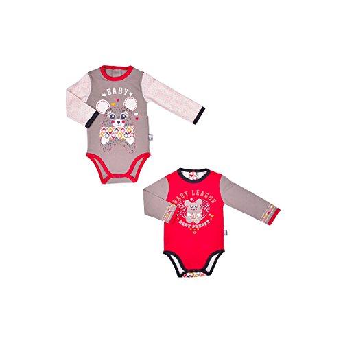 Petit Béguin - Lot de 2 bodies bébé fille manches longues Winona - Couleurs - Rouge, Longueur des manches - Manches longues, Taille - 18 mois (86 cm)