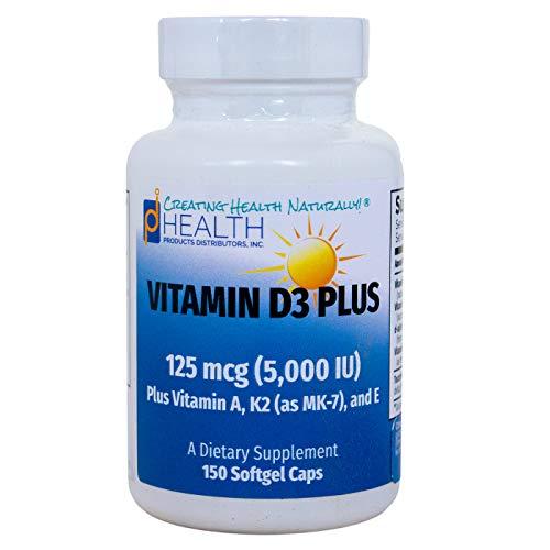 Vitamin D3 Plus –125 mcg (5000 IU) Vitamin D3 | Vitamin K2 (MK-7) and Vitamin A | Natural Form of Vitamin D | Includes Tocotrienols as Antioxidants | Non-GMO |150 Softgel Caps
