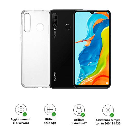 "Huawei P30 Lite (Black) Smartphone + cover trasparente, 4GB RAM, memoria espandibile da128 GB, Display 6.15"" FHD+, Tripla fotocamera posteriore da 48+8+2 MP, fotocamera anteriore 24 MP [Italia]"