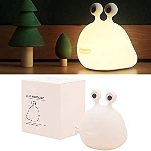 Night Light for Kids Soft Silicone Slug LED Lamp with Touch Control Cute Animal Nursery Nightlight for Children Baby & Toddler USB Rechargeable Brightness Adjustable Bedroom Decor