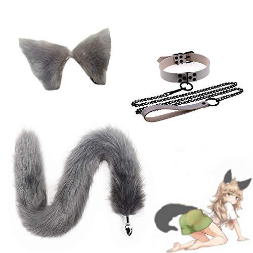 Carnaval Fiesta de Lujo Cola de Zorro esponjosa B--t-t P-l--gy Orejas de Gato Hairhoop Cadena de traccin Gargantilla Collar Anime Cosplay Set - S