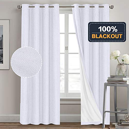 Functional 100% Blackout Curtain with Liner for Living Room Waterproof Primitive Linen Look Curtains 2 Panels Room Darkening Curtains for Bedroom (52 x 84, White + White Liner)