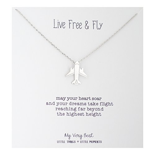 My Very Best Live Free and Fly Airplane Necklace (Silver Plated Brass)