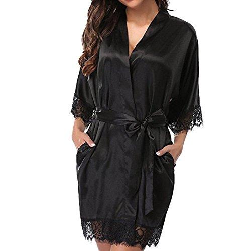 Lenfesh Batas Largas Kimono para Mujer Lenceria Ropa de Dormir Camisón de Encaje (L, Negro)