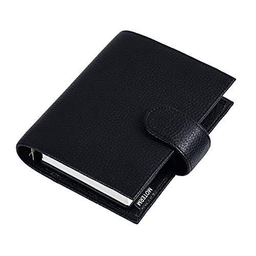 XJS Paperage Litchi Grain Cuero Regular Pocket Rings Planner A7 Anillo Cuaderno Mini Agenda Organizer Cowhide Diary Diario Sketchbook Cuaderno de Diario (Color : Litchi Black)