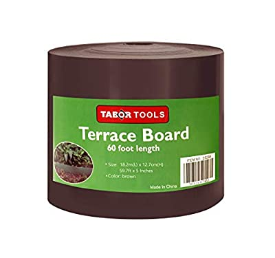 TABOR TOOLS Terrace Board, Landscape Edging Coil, 1/25 Inch Thick, 5 Inch High. ES25. (60 Feet, Brown)