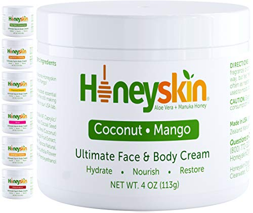 Face and Body Moisturizer Cream - Natural Facial Skin Care With Deep Hydrating Ingredients - Rashes Itchiness Redness - With Natural Aloe and Manuka Honey - Natural Coconut Mango Scent (4oz)