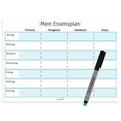 Mein Essensplan I dv_357 I DIN A4 I Whiteboard Essensplaner für die ganze Woche I abwischbar I blau I mit selbstklebender Rückseite