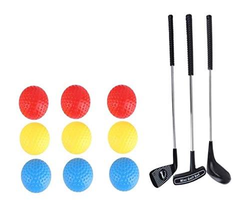 Wj Pack de Juego de Golf de 15 Piezas para niños de Metal Productos de Golf Práctica Juego de Golf Juguetes de Golf para Interiores y Exteriores
