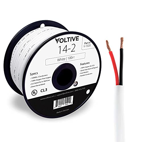 Voltive 14/2 Speaker Wire - 14 AWG/Gauge 2 Conductor - UL Listed in Wall (CL2/CL3) and Outdoor/In Ground (Direct Burial) Rated - Oxygen-Free Copper (OFC) - 100 Foot Spool - White