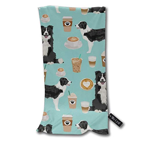"""Border Collie Coffee Print Cute Border Collie Coffees Best Dog Supersoft - Ultra Absorbent - Quick Dry - Machine Washable Oversize Towels 30""""x70"""" - for Beach, Bath, Yoga, Sports,Picnic, Travel etc."""