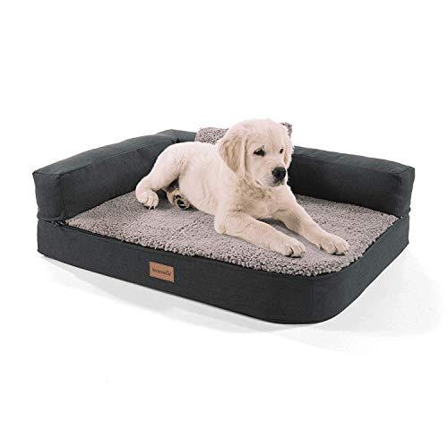 brunolie Odin - Cama para perros lavable, ortopédica y antideslizante, cojín para perros de peluche suave, beis, marrón oscuro, gris oscuro y gris, tallas S-L