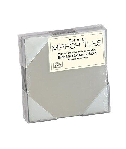 Innova Spiegel, 15 x 15 cm, vierkant, tegels met zelfklevende pads, 8 stuks