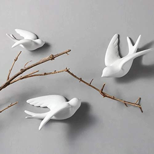 Karigaari India Handcrafted Poly-Resin Wall Hanging Set of 3 White Flying Birds Decoration Crafts Ornament for Home Decor