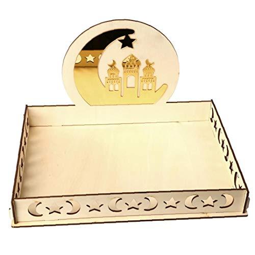 Heall Holz Künstlerische Fach Eid Mubarak-Partei Serving Geschirr Schloss Tray Dekoration Ornament für Plätzchen Dessert Ramadan Versorgung