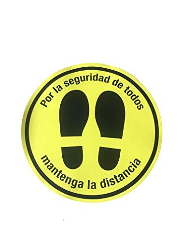 PACK DE 5 SEÑALES ADHESIVAS CIRCULARES PARA SUELO - MANTENER DISTANCIA DE SEGURIDAD - SEÑALES COVID EN COMERCIOS, LOCALES, OFICINAS (Amarillo)