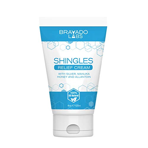 Premium Shingles Treatment Relief Cream - Bravado Labs - with Manuka Honey, Silver and Allantoin - 100% Natural Nerve Pain Ointment - Stops Breakouts, Scars, Itchy Skin, Dryness and Burning (4oz)