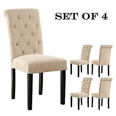 LSSBOUGHT Stylish Dining Room Chairs with Solid Wood Legs