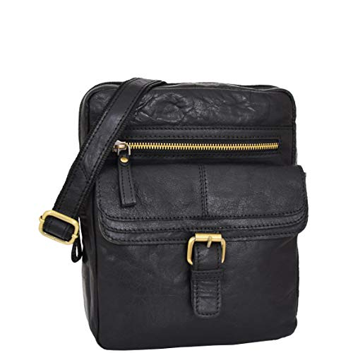 Real Leather Retro Cross Body Bag Classic Black DRLB227
