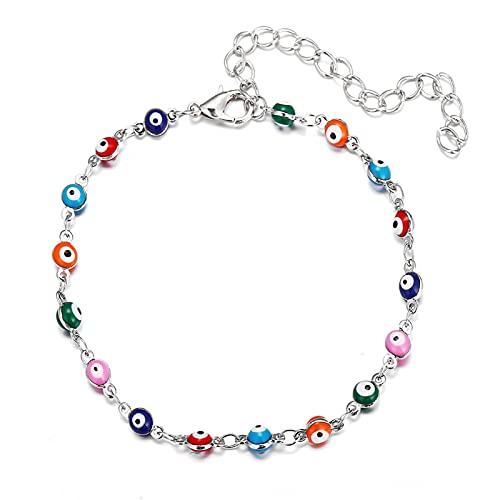 Tengan Siling Silver Rainbow Planet Galaxy Anklet, cristales multicolores de Austria, Pulsera del tobillo Pulsera de pie para mujer, Aniversario Regalos de joyería de cumpleaños para hija best service