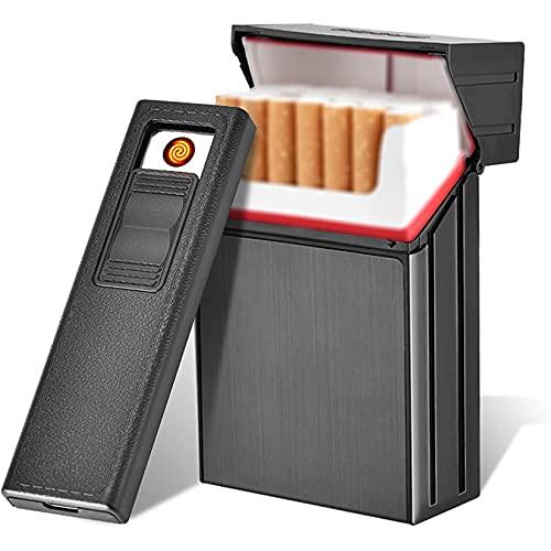 HHYHOME Estuche De Cigarrillos 2 En 1 para Hombres,Puede Contener Cigarrillos Y Encendedor USB Recargable,Encendedor De Cigarrillos A Prueba De Agua, Padre,Negro