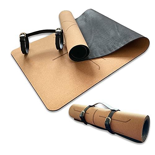 KILIGS- Esterilla de Yoga de corcho antideslizante con correa para transportar, Yoga mat, Esterilla de deporte antideslizante, Colchoneta para yoga, pilates