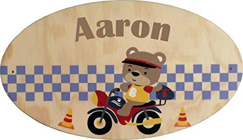 Plaque de Porte en bois personnalisée pour une Chambre d'enfant Moto - Le prénom de la plaque en bois est personnalisable - cadeau de naissance personnalisé bébé Décoration
