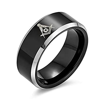 Bling Jewelry Laser Etched Square & Compass Freemason Masonic Black Titanium Band Ring for Men Comfort Fit 8MM