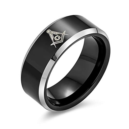 Bling Jewelry Laser Geätzt Quadrat & Kompass Freimaurer Freimaurer Schwarz Titan Band Ring Für Männer Komfort Fit 8Mm
