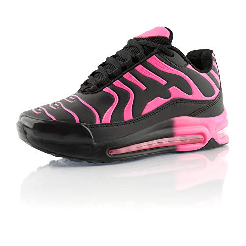 Fusskleidung® Damen Herren Sportschuhe Dämpfung Sneaker leichte Laufschuhe Pink Schwarz EU 36