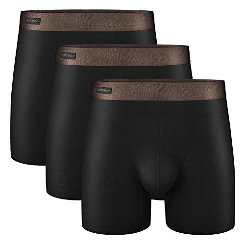 DAVID ARCHY Boxer Homme sans Couture Lot de 3 Long en Fibres de Bambou Poche sous-Vêtement Élastique Séchage Rapide Confortable