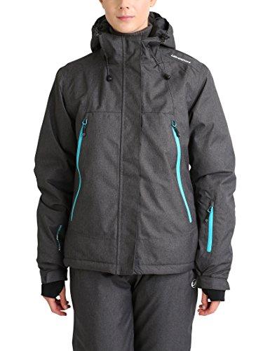Ultrasport Mel - Giacca da sci o snowboard donna con tecnologia Ultraflow 10.000 - Giubbotto termico per outdoor e sport invernali con cappuccio, grigio/blu, M