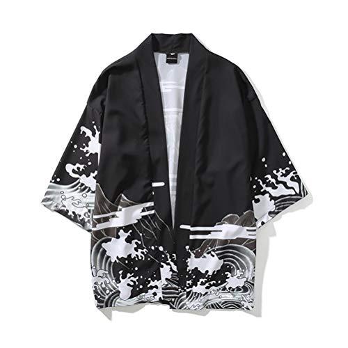 Schimer Chaqueta Japonesa Happi Kimono Haori para Hombre Chaquetas transicionales, Abrigo Unisex Kimono Samurai con expresión 3D