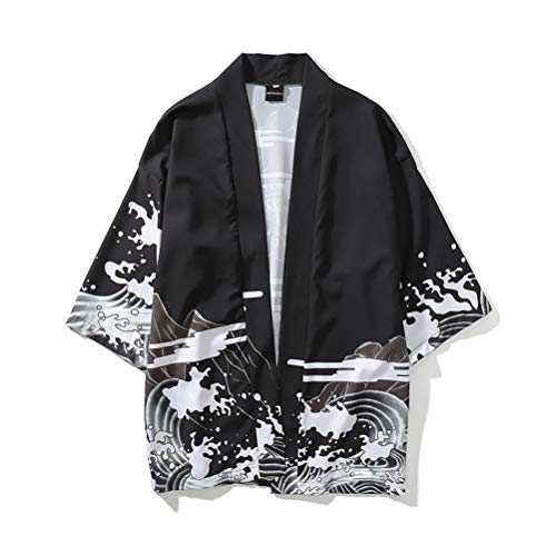 Ukiyo-e T-Shirt, Japanese Summer Men's Japan Happi Kimono Haori Cardigan Spring-Summer Jacket