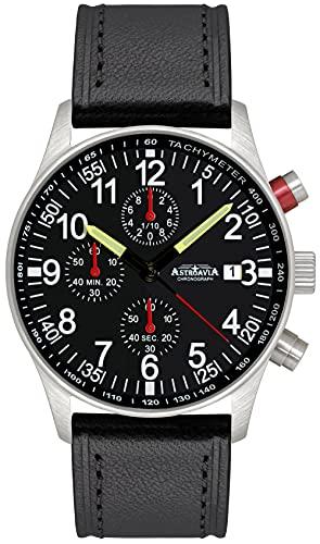 N97L4Astroavia Reloj cronógrafo de cuarzo para hombre con cronógrafo para hombre (mecanismo de cuarzo correa de piel