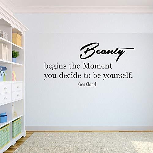 Zitat von Coco Chanel Beauty Begins The Moment You Decide to be Yourself 50cm Aufkleber,Autoaufkleber,Wandtattoo,Sticker,Netbook,UV& Waschanlagenfest,Profi Qualität,Laptop