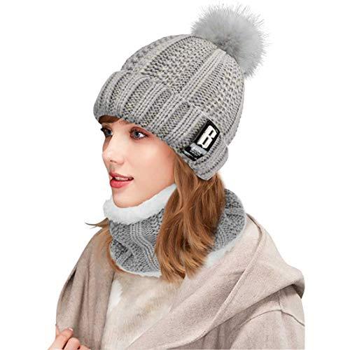 Yuson Girl Conjunto de gorro y bufanda de punto, forro polar de invierno, forro de lana Beanie Hat, calentadores de cuello para mujeres (Gris)