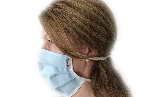 Mund-Nasen-Maske mit Nasenbügel zum Binden, zweilagig, Ozon desinfiziert, Made in Germany