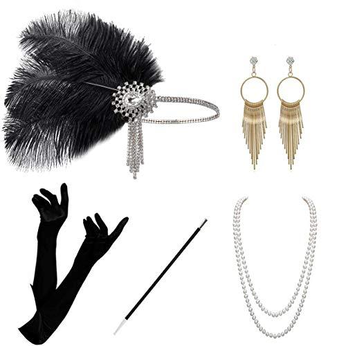 BOER 20er Jahre Accessoires - Flapper Gatsby Kostüm Zubehör Set Vintage Stirnband Ohrringe Halskette Handschuhe Zigarettenspitze Flapper Set für Party Dance (Style F)