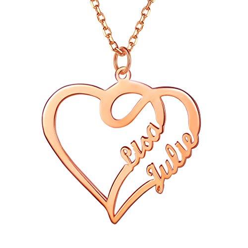 Joyería DIY Plata de Ley 925 Cadena Resistente Delgada Rosado Collar de Amor para Mujeres Colgantes Corazones con Letras Personalizadas Encanto para Novias Parejas