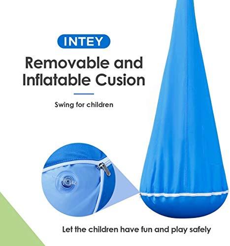 INTEY Hängehöhle Kinder Hängesessel mit Haken und Hängende Seile, Hängesack als Kuschelhöhle oder Turngerät für Kinder, Blau/Grün - 3