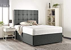 """Luxury Grey Linen Divan Base With 4 Drawers Comes With Cubed Design Headboard 32"""" high Hand Tufted Memory Sprung Mattress Mattress Tension: Medium Level of Support Please Read The Delivery Information Before Placing Any Orders"""