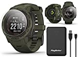 Garmin Instinct Solar Tactical (Moss) GPS Outdoor Watch Power Bundle | Includes PlayBetter Power Bank Charger & HD Screen Protectors | Hiking Military Watch | Dual GPS, Solar Charging | 010-02293-14