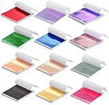 Y-Axis 12 Colors Gold Leaf Sheets Set, 600 Sheets Imitation Hold Gold Leaf Leafing Sheets Foil Paper for Slime Nails Paintings