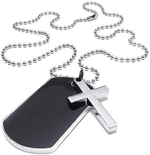 PPQKKYD Collar Joyería Hombres S Mujeres Collar Militar Cruz Marca Estilo del Ejército Etiqueta de Perro Colgante con Cadena de 68Cm