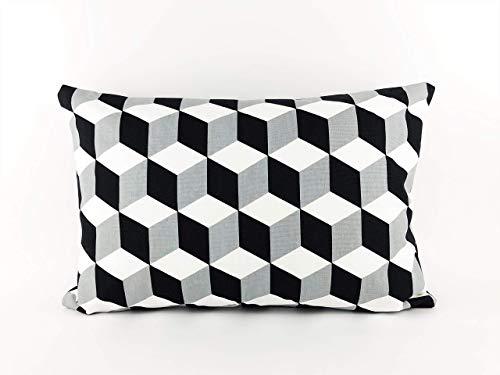 Moderner Kissenbezug 40x60cm Schwarz Weiß Gemustert mit 3D Effekt