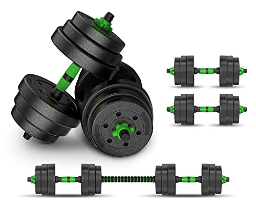 Yog&Fit. PA-004 Pesas y Mancuernas 2 en1 con Barra Ajustable, Juego para gimnasio en casa y practicar ejecicio y fortalecer musculación. Kit de pesas y mancuernas 10Kg/Juego Total 20Kg