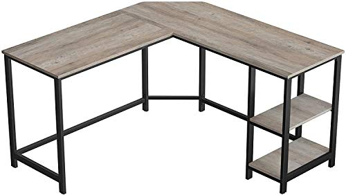 Corner Study Desk for The Home Office, Space-Saving, Easy to Assemble Computer Desk, L-Shaped Writing Workstation with Shelves,Brown